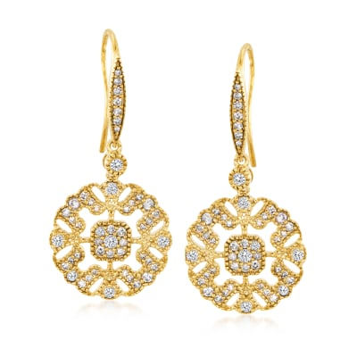 .75 ct. t.w. Diamond Openwork Drop Earrings in 18kt Gold Over Sterling
