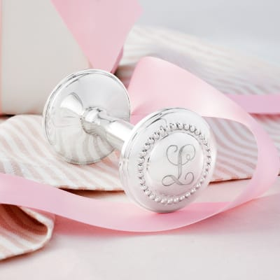 Empire Baby's Sterling Silver Personalized Rattle with Beaded Finials