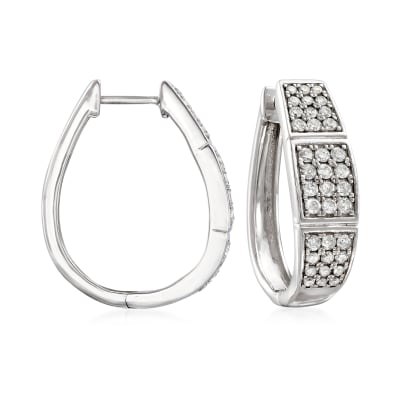1.00 ct. t.w. Diamond Three-Row Hoop Earrings in Sterling Silver