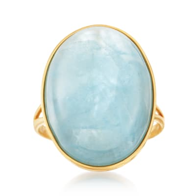 25.00 Carat Milky Aquamarine Ring in 14kt Yellow Gold