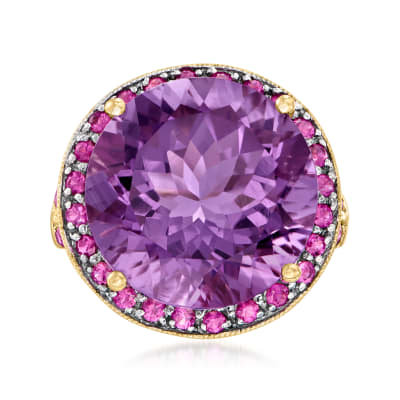 C. 1990 Vintage 12.50 Carat Amethyst and 1.00 ct. t.w. Ruby Ring in 14kt Yellow Gold