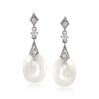 8mm Cultured Pearl and .10 ct. t.w. Diamond Drop Earrings in 14kt White Gold