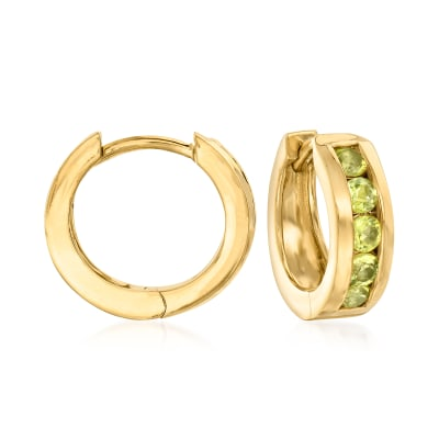 .70 ct. t.w. Peridot Hoop Earrings in 18kt Gold Over Sterling