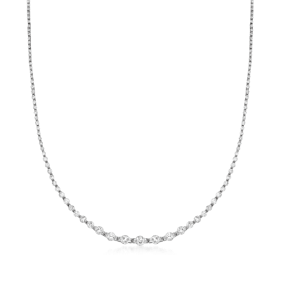 C. 1990 Vintage 5.00 ct. t.w. Diamond Necklace in Platinum