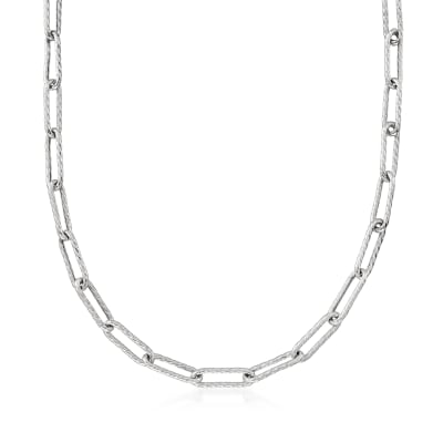 Italian Sterling Silver Twisted Paper Clip Link Necklace