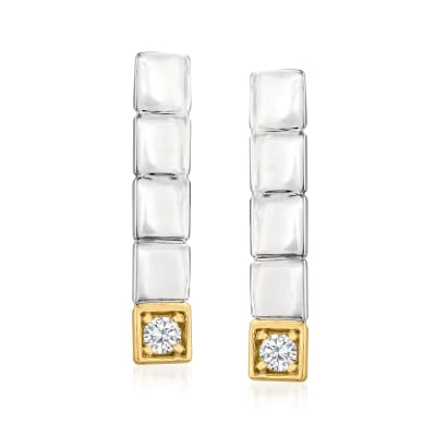 Sterling Silver and 14kt Yellow Gold Bar Drop Earrings with Diamond Accents