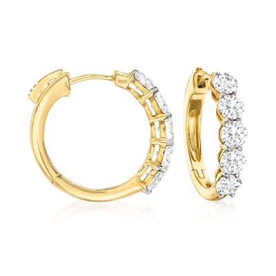 2.00 ct. t.w. Diamond Five-Stone Hoop Earrings in 14kt Yellow Gold