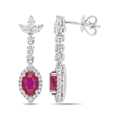 1.88 ct. t.w. Ruby and .73 ct. t.w. Diamond Drop Earrings in 14kt White Gold