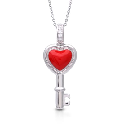 "Belle Etoile ""Love is the Key"" Red Enamel Pendant Necklace in Sterling Silver"