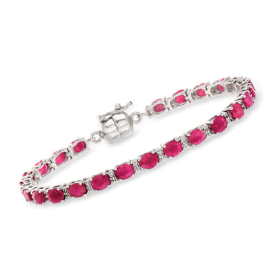 7.00 ct. t.w. Ruby and .20 ct. t.w. White Topaz Tennis Bracelet in Sterling Silver with Magnetic Clasp