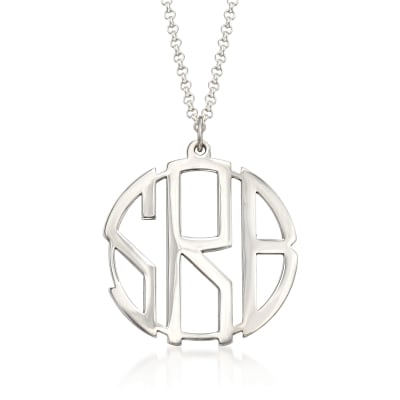 Sterling Silver Open Block Monogram Pendant Necklace