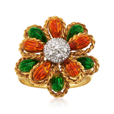 C. 1990 Vintage Orange and Green Enamel Flower Ring with Diamond Accents in 18kt Yellow Gold