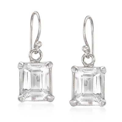 6.50 ct. t.w. Emerald-Cut White Topaz Drop Earrings in Sterling Silver