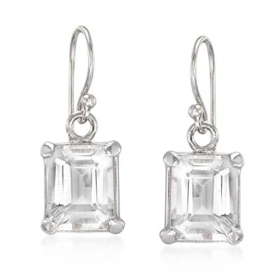 6.50 ct. t.w. Emerald-Cut White Topaz Drop Earrings in Sterling Silver