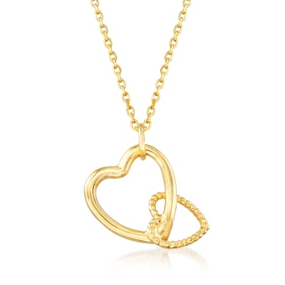 Italian 18kt Yellow Gold Double-Heart Necklace