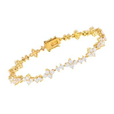 5.85 ct. t.w. CZ Tennis Bracelet in 18kt Gold Over Sterling