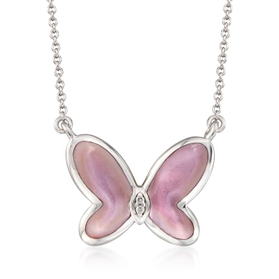 Pink Mother-Of-Pearl Butterfly Necklace with Diamond Accents in Sterling Silver