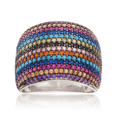 Multicolored CZ Ring in Sterling Silver