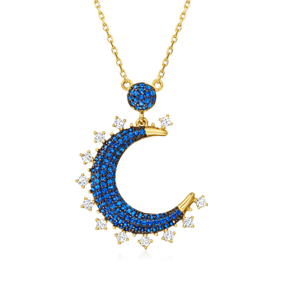 .60 ct. t.w. Simulated Sapphire and .30 ct. t.w. CZ Crescent Moon Pendant Necklace in 18kt Gold Over Sterling
