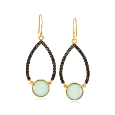 Blue Chalcedony and .70 ct. t.w. Black Spinel  Drop Earrings in 18kt Gold Over Sterling