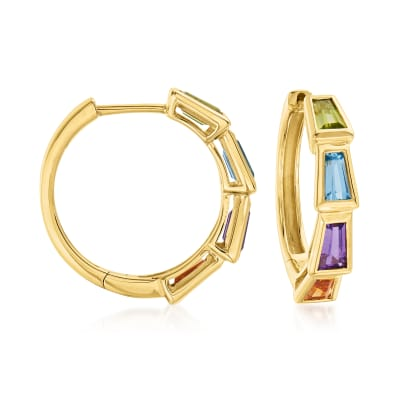 2.10 ct. t.w. Multi-Gemstone Hoop Earrings in 18kt Gold Over Sterling