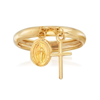 Italian 14kt Yellow Gold Religious Charm Ring