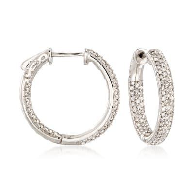 1.00 ct. t.w. Diamond Inside-Outside Hoop Earrings in 14kt White Gold