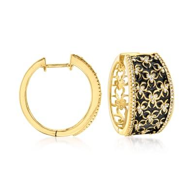 Black Enamel and .50 ct. t.w. Diamond Hoop Earrings in 18kt Gold Over Sterling