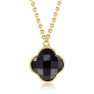 Italian Black Onyx Clover Necklace in 14kt Yellow Gold