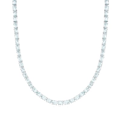 30.00 ct. t.w. Aquamarine Tennis Necklace in Sterling Silver