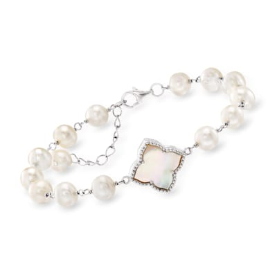 Mother-Of-Pearl and 6-6.5mm Cultured Pearl Bracelet in Sterling Silver