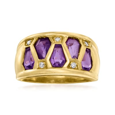 C. 1990 Vintage 2.00 ct. t.w. Amethyst Ring with Diamond Accents in 18kt Yellow Gold