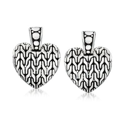 Sterling Silver Bali-Style Heart Drop Earrings