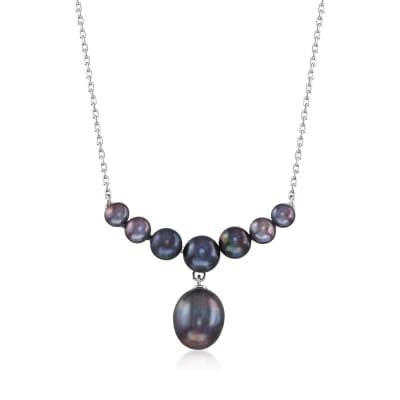 4-9.5mm Black Cultured Pearl Drop Necklace in Sterling Silver