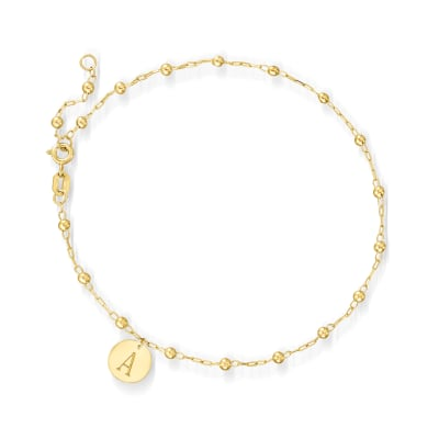 Italian 14kt Yellow Gold Bead-Link Anklet with Personalized Disc Charm
