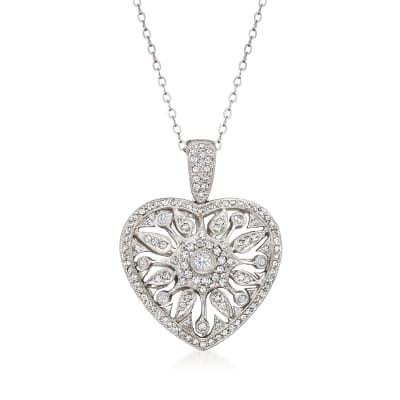C. 1990 Vintage 1.05 ct. t.w. Diamond Heart Pendant Necklace in 14kt White Gold