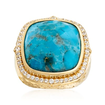 Turquoise and .70 ct. t.w. White Zircon in 18kt Gold Over Sterling