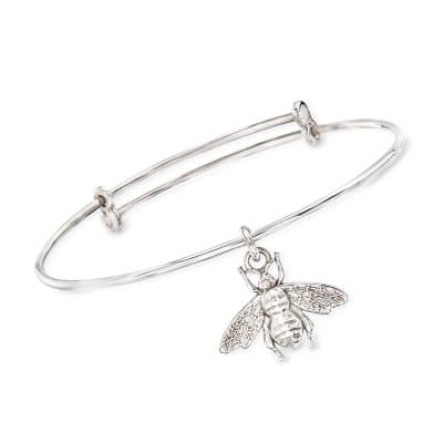 Italian Sterling Silver Bee Charm Bracelet