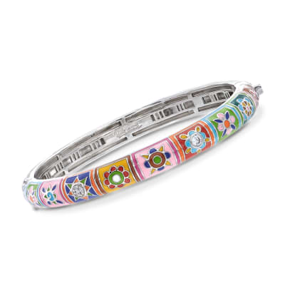 "Belle Etoile ""Constellations: Bavaria"" Multicolored Enamel and .25 ct. t.w. CZ Bangle Bracelet in Sterling Silver"