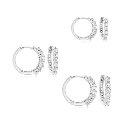1.20 ct. t.w. CZ Jewelry Set: Three Pairs of Huggie Hoop Earrings in Sterling Silver