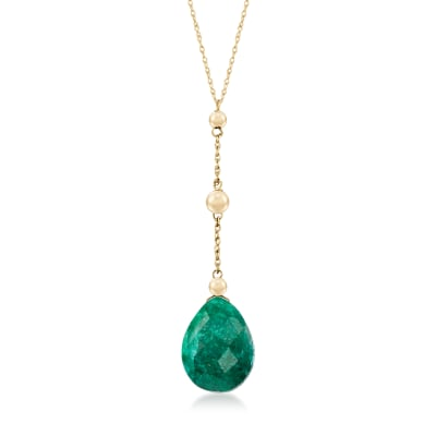 10.00 Carat Emerald Y-Necklace in 14kt Yellow Gold
