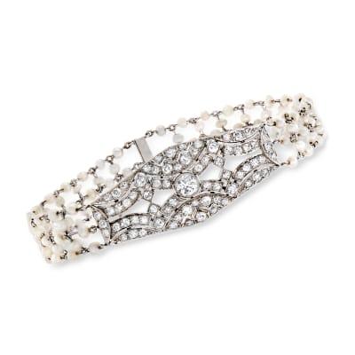 C. 1950 Vintage Seed Pearl and 2.60 ct. t.w. Diamond Bracelet in Platinum