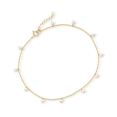 2.5-3mm Cultured Pearl Anklet in 14kt Yellow Gold