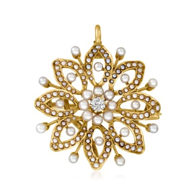 C. 1920 Vintage .10 Carat Diamond Flower Pin/Pendant with Seed Pearls in 14kt Yellow Gold