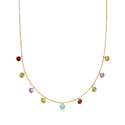 2.70 ct. t.w. Multi-Stone Station Necklace in 14kt Yellow Gold