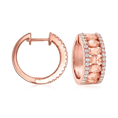 3.00 ct. t.w. Morganite and 1.20 ct. t.w. White Topaz Hoop Earrings in 18kt Rose Gold Over Sterling