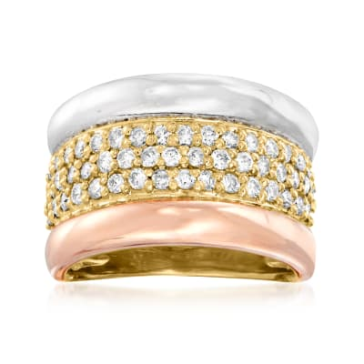 C. 1980 Vintage 1.00 ct. t.w. Diamond Ring in Platinum and 18kt Two-Tone Gold