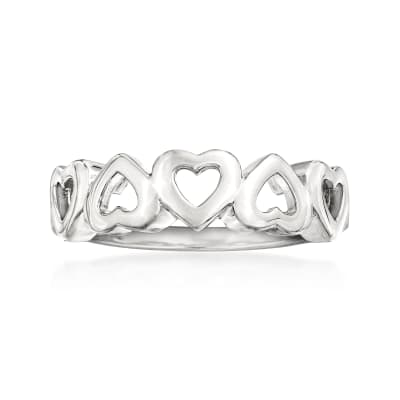 Italian Sterling Silver Open-Space Heart Ring