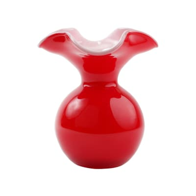 """Vietri """"Hibiscus"""" Small Red Glass Fluted Vase from Italy"""