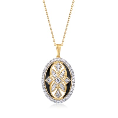 .75 ct. t.w. Diamond Art Deco-Style Pendant Necklace with Black Enamel in 18kt Gold Over Sterling